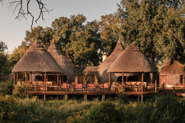 """The unique architecture of the circular Tsonga  """"rondawels"""", located on the banks of the Mluwati river"""